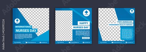 International Nurses Day. Social media templates for International Nurses Day. Banner vector for social media ads, web ads, business messages, discount flyers and big sale banners.