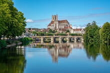 The Yonne River And The Church Of Auxerre In Burgundy, France