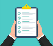 Businessman Holding Clipboard With Checklist In A Flat Design