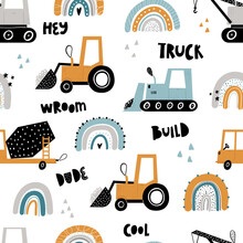 Vector Hand-drawn Seamless Repeating Children Simple Pattern With Cars And Rainbows In Scandinavian Style On A White Background.Kids Pattern With Building Equipment. Funny Construction Transport