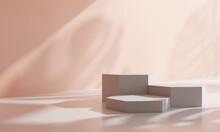 Podium, Cosmetic Display Stand With Shadow Nature Leaves On Brown Background. 3D Rendering