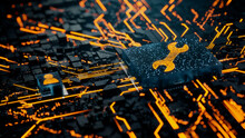 Configure Technology Concept With Tool Symbol On A Microchip. Orange Neon Data Flows Between The CPU And The User Across A Futuristic Motherboard. 3D Render.
