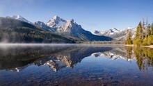 United States, Idaho, Sawtooth Lake Surrounded With Snowcapped Sawtooth Mountains