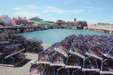 View Of Dunbar Harbour, Scotland Showing Lobster Creels