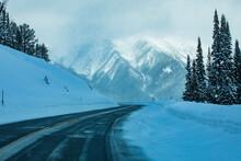 United States, Idaho, Sun Valley, Road Through Snowy Mountains