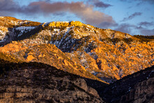 United States, Utah, Springdale, Late Afternoon Sun On Mountains Near Zion National Park