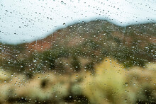 United States, Utah, Zion National Park, Raindrops On Window