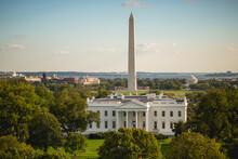 United States, White House With Washington Monument Behind