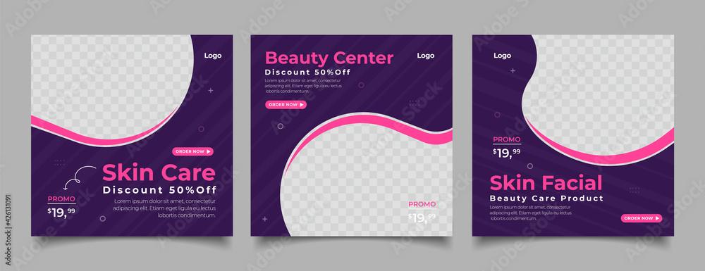 Fototapeta Beauty Center Makeup Social media post Banner Square Flyer Template Design