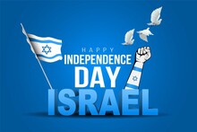 Happy Independence Day Israel. Stylish 3d Letter With Israel Flag. Vector Illustration Design