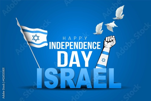 Fototapeta happy independence day Israel. stylish 3d letter with israel flag. vector illustration design obraz