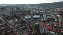 Cinematic Aerial Drone Footage Of The Charming Quaint Historical Inner City, Downtown Of Sopron, A Major Tourist Destination In Győr-Moson-Sopron County On The Border Of Austria And Hungary
