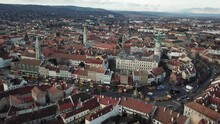 Cinematic Aerial Drone Footage Of The Medieval Fire Tower And Charming Quaint Historical Inner City, Downtown Of Sopron, A Major Tourist Destination In Győr-Moson-Sopron County In Northwestern Hungary