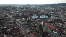 Cinematic Aerial Drone Footage Of The Charming Old Historical Inner City, Downtown Of Sopron, A Major Tourist Destination In Győr-Moson-Sopron County, Western Transdanubia In Northwestern Hungary
