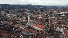 Cinematic Aerial Drone Clip Of The Charming Quaint Historical Inner City, Downtown Of Sopron, A Major Tourist Destination In Győr-Moson-Sopron County, Western Transdanubia In Northwestern Hungary