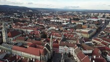 Cinematic Aerial Drone Video Of The Charming Quaint Historical Inner City, Downtown Of Sopron, A Major Tourist Destination In Győr-Moson-Sopron County, Western Transdanubia In Northwestern Hungary
