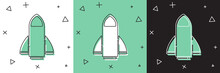 Set Rocket Ship Icon Isolated On White And Green, Black Background. Space Travel. Vector