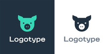 Logotype Pig Icon Isolated On White Background. Animal Symbol. Logo Design Template Element. Vector