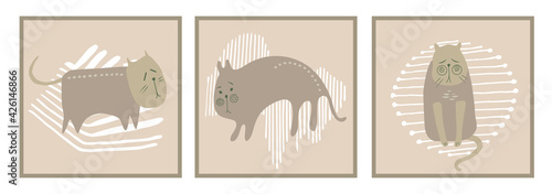 Trendy abstract maps in pastel colors.Hand-drawn cats ,geometric shapes.Vector illustration is applicable for postcards, covers,brochures, interior design.Children's illustration