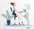 Młoda dziewczyna pracuje nad projektem przy komputerze. Kobieta w biznesie. Praca w biurze prezentacja wyników. Wektorowa ilustracja.