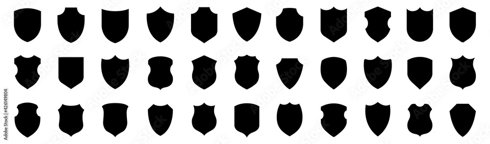 Fototapeta Shield icons collection. Protect shield set. Set of shields. Protection. Different shields.
