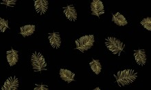 Golden Tropical Leaves Creatively Arranged On Black Background. Trendy Luxury Fashion Seamless Pattern Design. Colors 2021.
