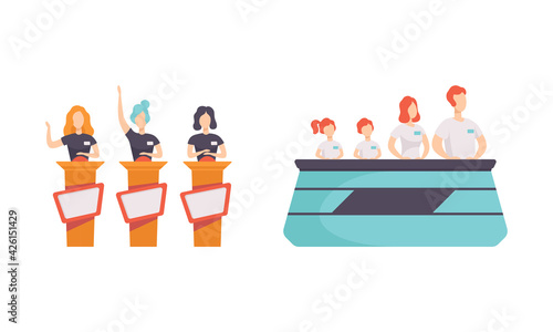 People Taking Part on TV Quiz Show Set, Players Answering Questions Standing at Stand with Buttons Cartoon Vector Illustration