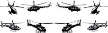A Set Of Vector Black-and-white Images Of Various Helicopter Models. Civilian And Military Helicopters