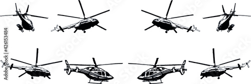 Tela A set of vector black-and-white images of various helicopter models