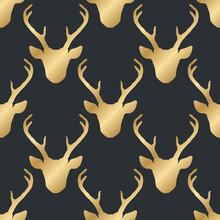 Seamless Pattern With Golden Deer Heads