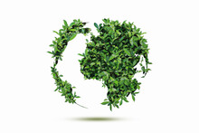 Double Exposure World Tree Environmental Concept Isolated On White Background Clipping Path.