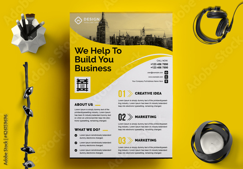 Corporate Flyer Layout with Graphic Elements and Yellow Accents