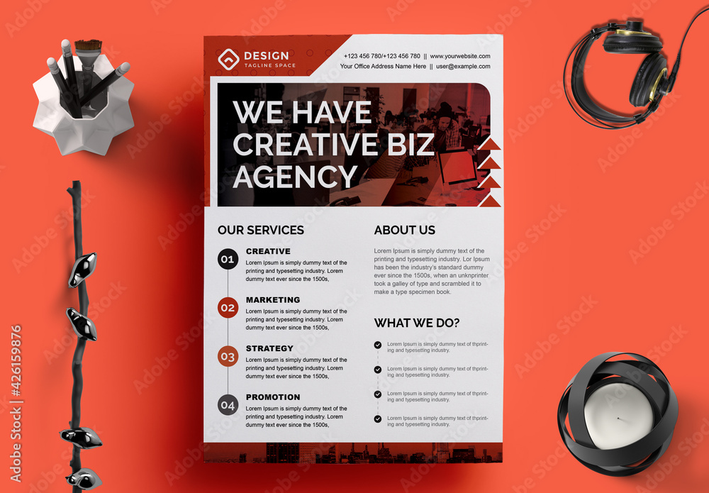 Fototapeta Business Flyer Layout with Red Accents