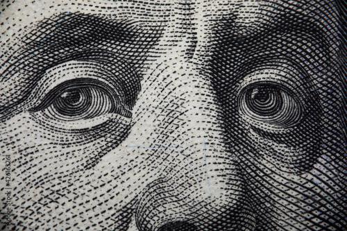 Fotografia, Obraz Close-up of benjamin franklins face on hundred banknote