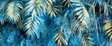 Wall with tropical plants. Nature blue background.