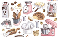 Kitchen Tools And Ingredients Set.