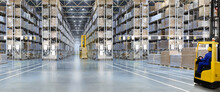 Huge Distribution Warehouse With High Shelves And Forklift With Driver.