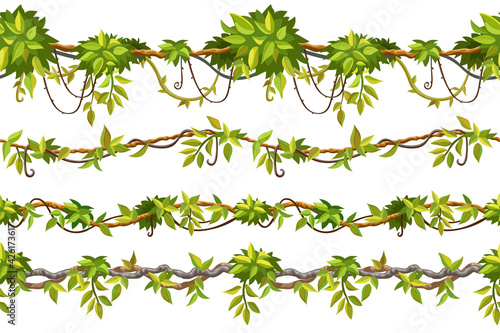 Set of seamless borders liana branches and tropical leaves Wallpaper Mural