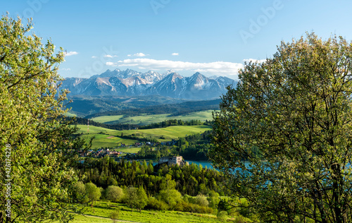 Beautiful spring landscape at Tatra mountains in Poland