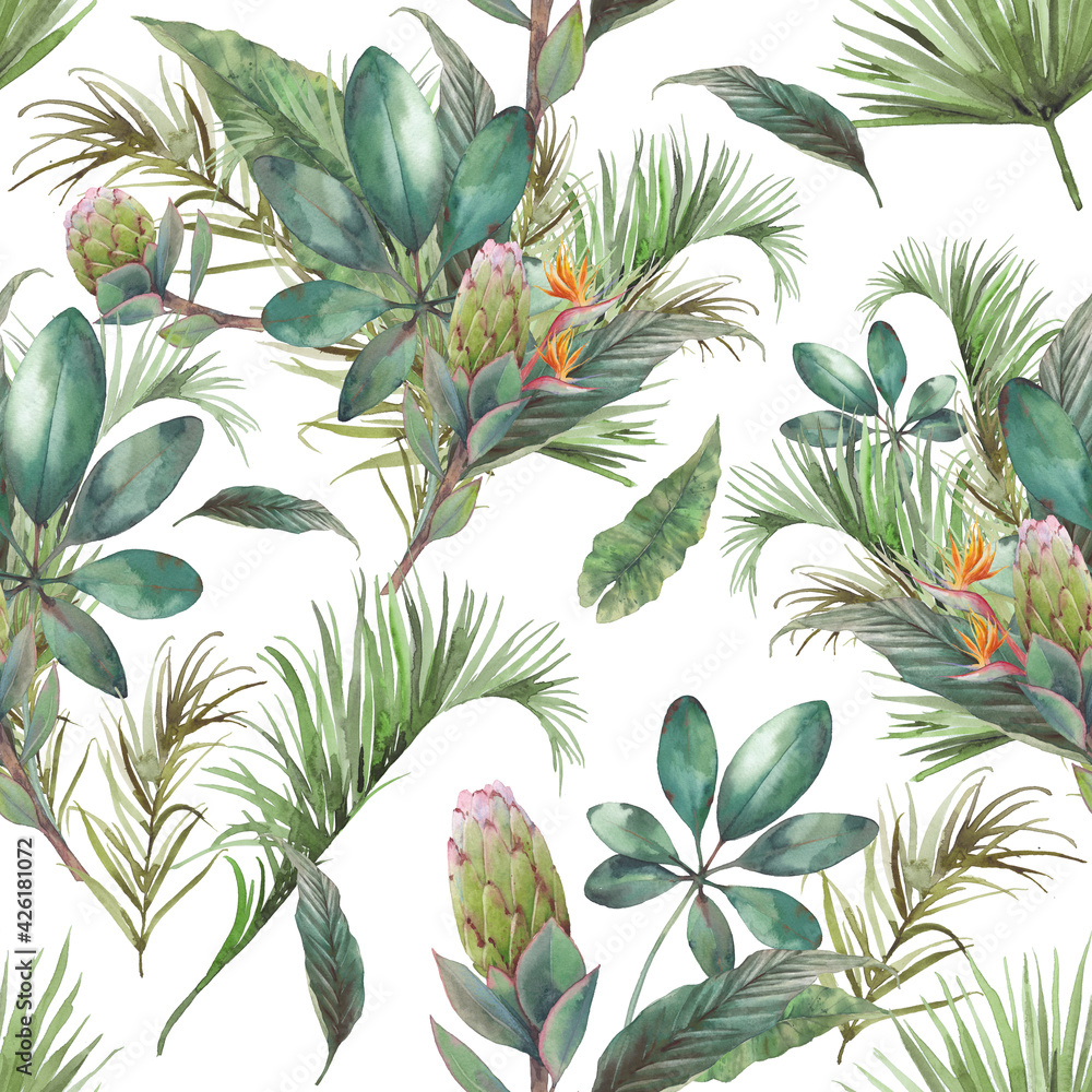 Fototapeta Watercolor exotic seamless pattern. Repeating texture with plants, tropical bouquet: palm tree branches, protea, banana leaves, frangipani flower. Summer wallpaper design