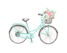 Watercolor Illustration, Postcard, Print. Bicycle With A Basket And Flowers: Peonies And Daisies. Birch Bike, Bright Flowers. Spring And Summer Print. For Printing And Electronic Media.