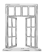 Vector Drawing Of An Open Window, Isolated Object In Sketch Style. Open Home Window To The Outside Illustration.