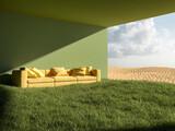 Fototapeta Przestrzenne - Green house in desert