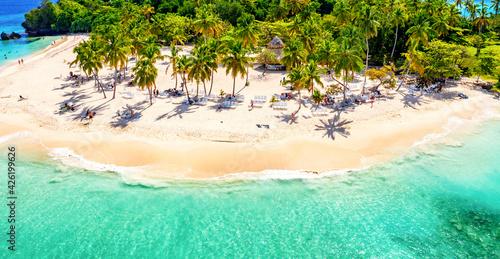 Aerial drone view of beautiful caribbean tropical island Cayo Levantado beach with palms Fototapete