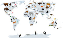 Vector Map Of The World With Animals. Europe, Asia, South America, North America, Australia, Africa.