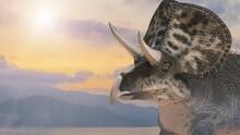 Dinosaur Triceraptor On The Background Of Nature Render 3D