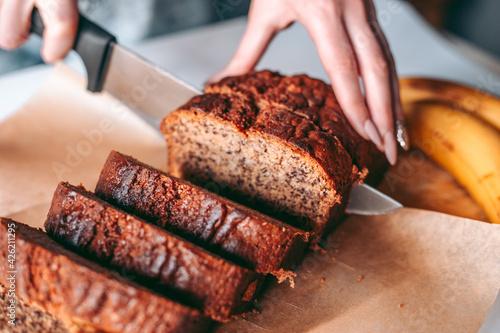 Obraz na plátně Freshly baked banana bread in the kitchen