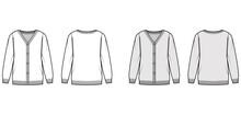 Sweater Cardigan Technical Fashion Illustration With V- Neck, Long Sleeves, Oversized, Fingertip Length, Knit Rib Trim. Flat Apparel Front, Back, White Grey Color Style. Women, Men Unisex CAD Mockup
