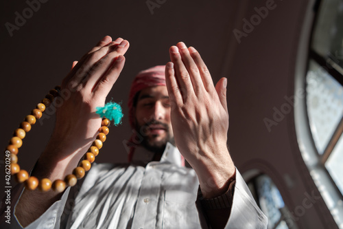 Fotografie, Obraz muslim prayer inside the mosque in namaz worship Allah
