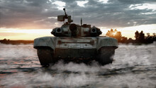 Heavy Military Tank In The Field Of Battle. War Concept, 3d Illustration